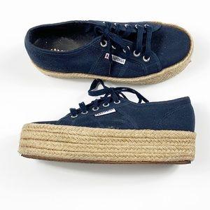Superga Navy Platform Espadrilles Sneakers